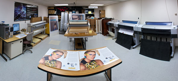 View of the main poster production area at UW DoIT Digital Publishing & Printing Services, East Campus Mall office.