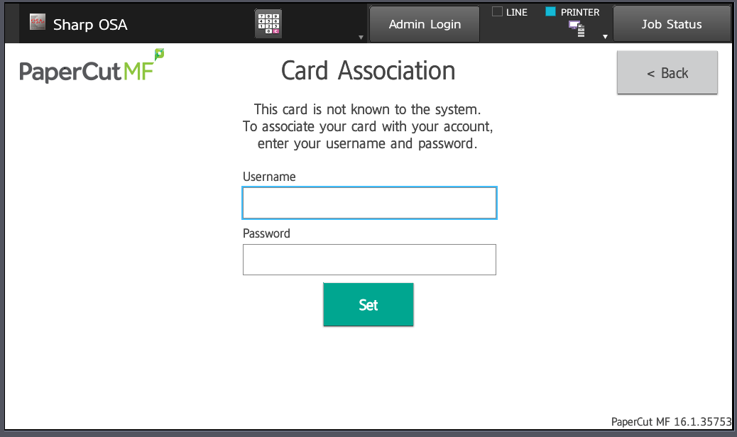 input username and password for card association