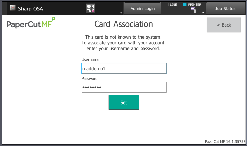 username and password have been filled in the card association page