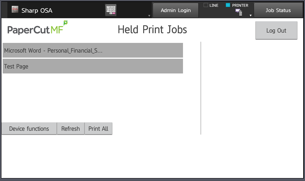 held print jobs page. press device functions button to get to scanner options