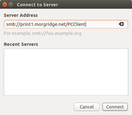 connect to smb://print1.morgridge.net/PCClient