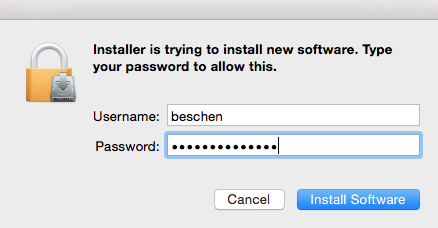 user your local mac username and password at the installation promtp