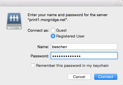 user your Discovery username and password for papercut share
