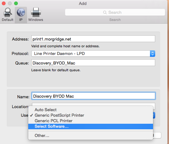 use same print settings as described above except queue should be Discovery_BYOD_Mac