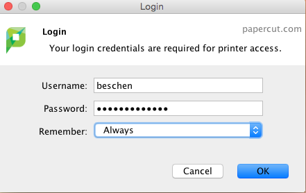 input your discovery username and password for papercut login and set remember to always