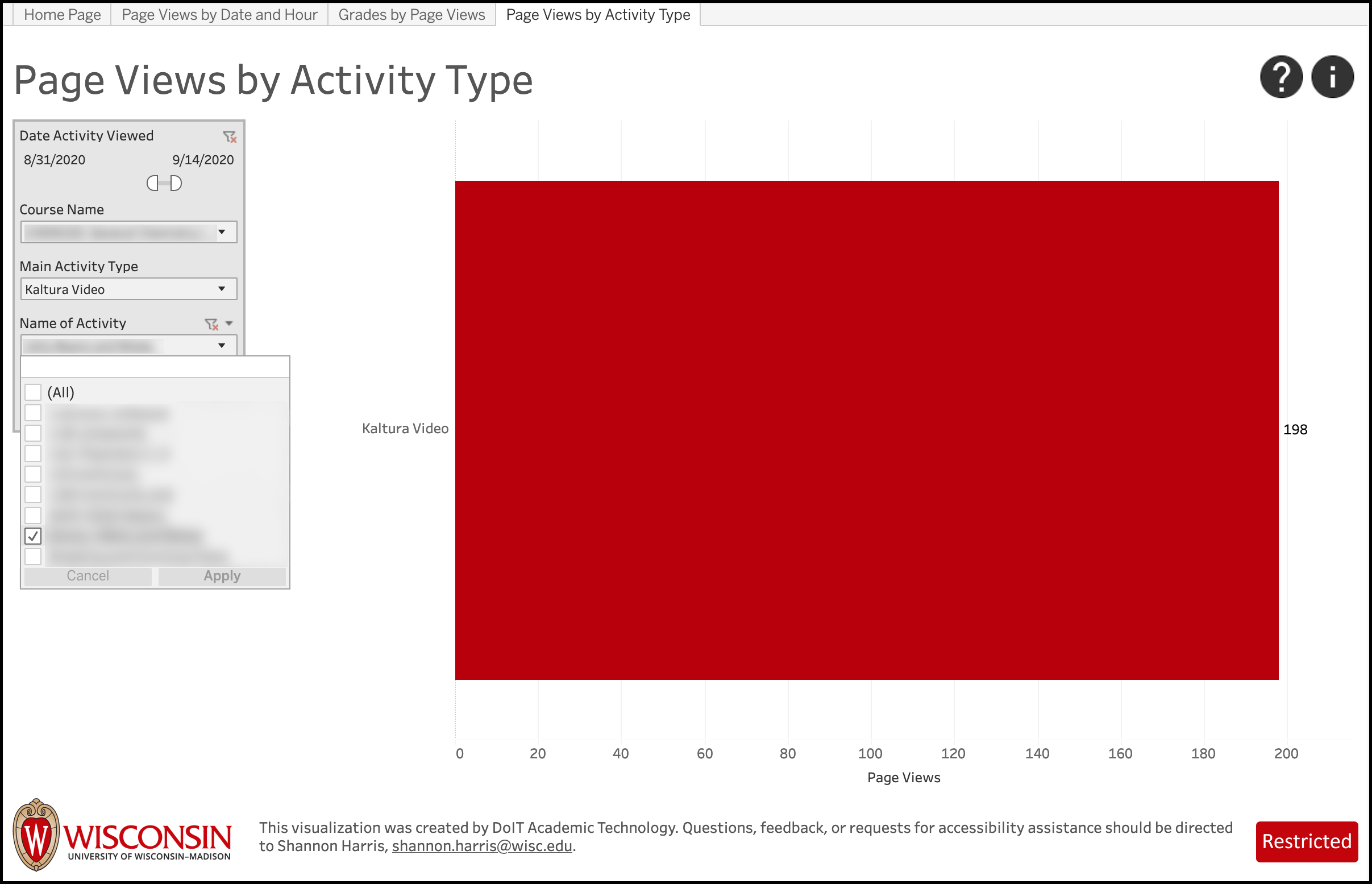 LEAD Page Views by Activity Type - filter by specific Activity
