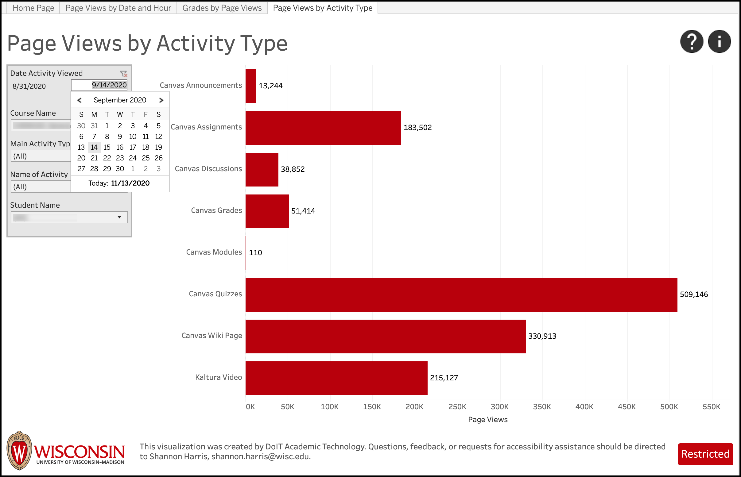 LEAD Page Views by Activity Type - filter by date