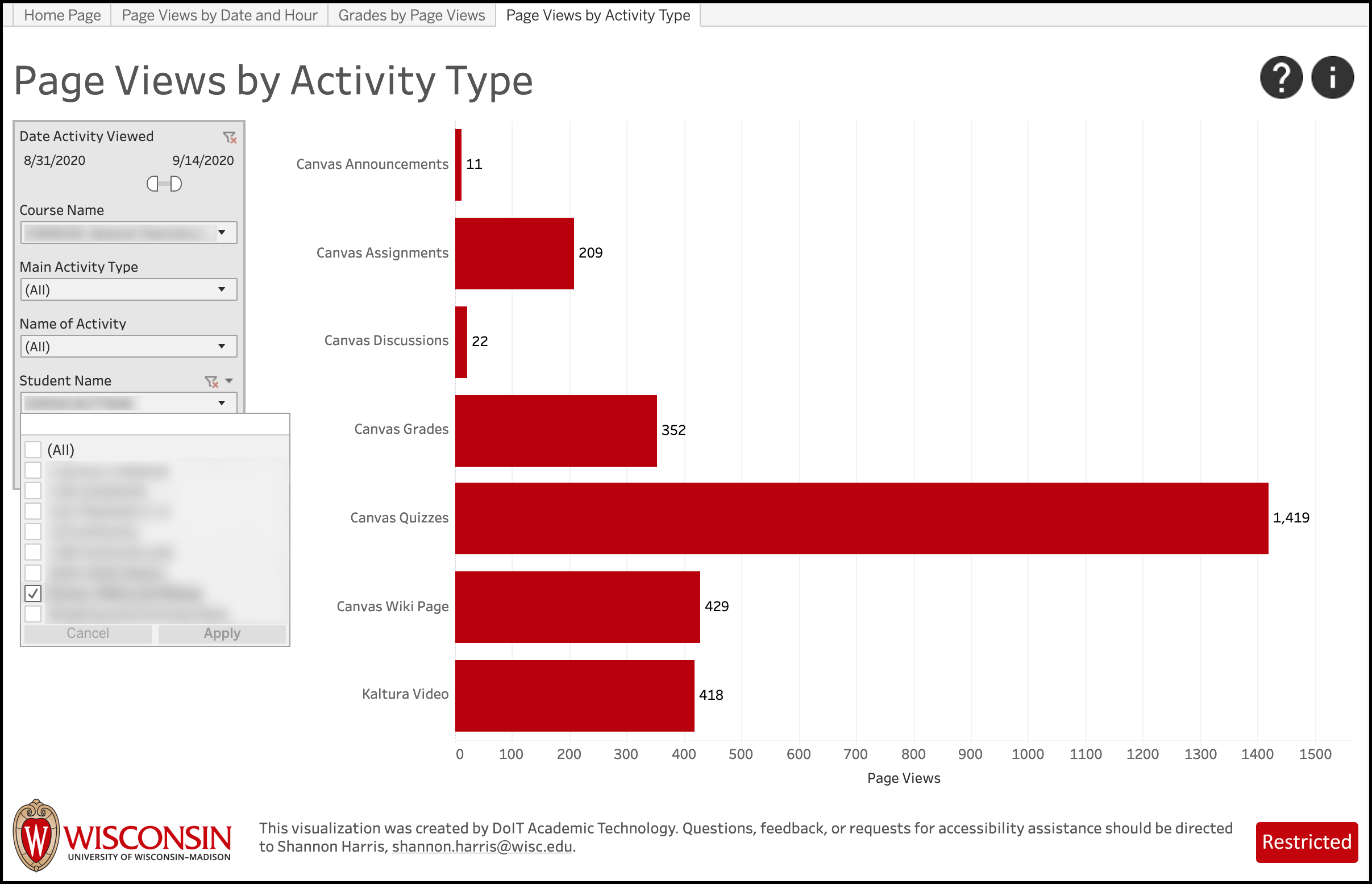 LEAD Page Views by Activity Type - filter by student
