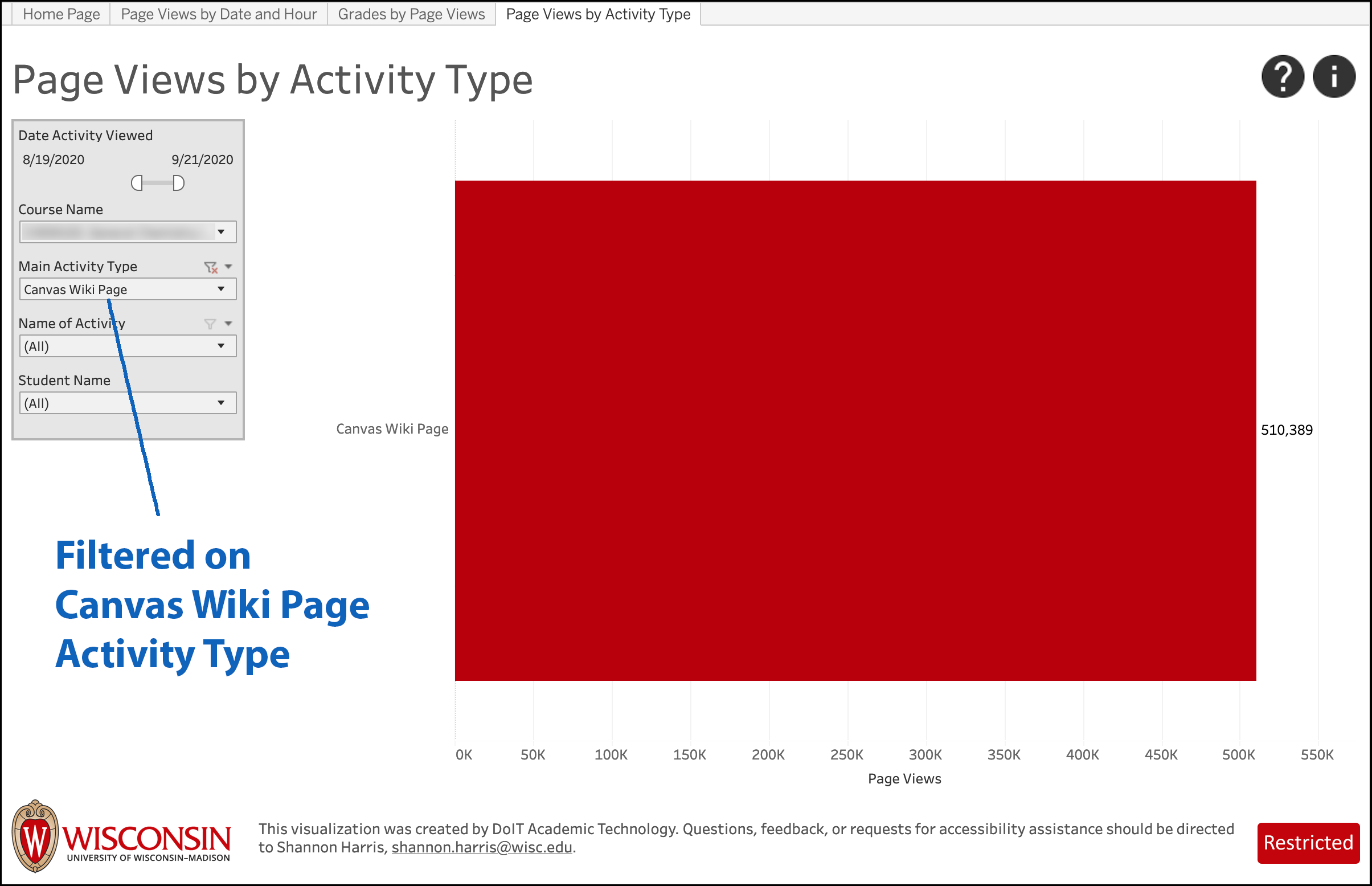 LEAD screenshot - Page Views by Activity Type, filtered to Activity Type