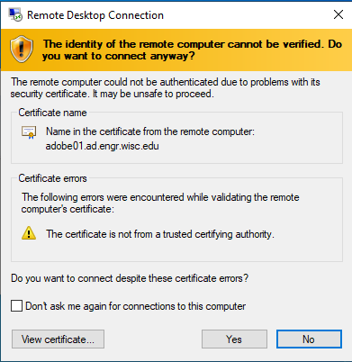 Windows Cert Error
