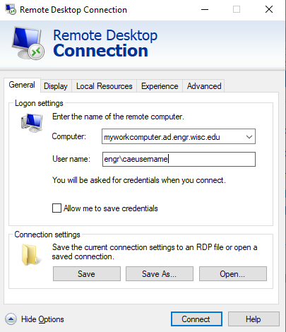 RDP Connection Options