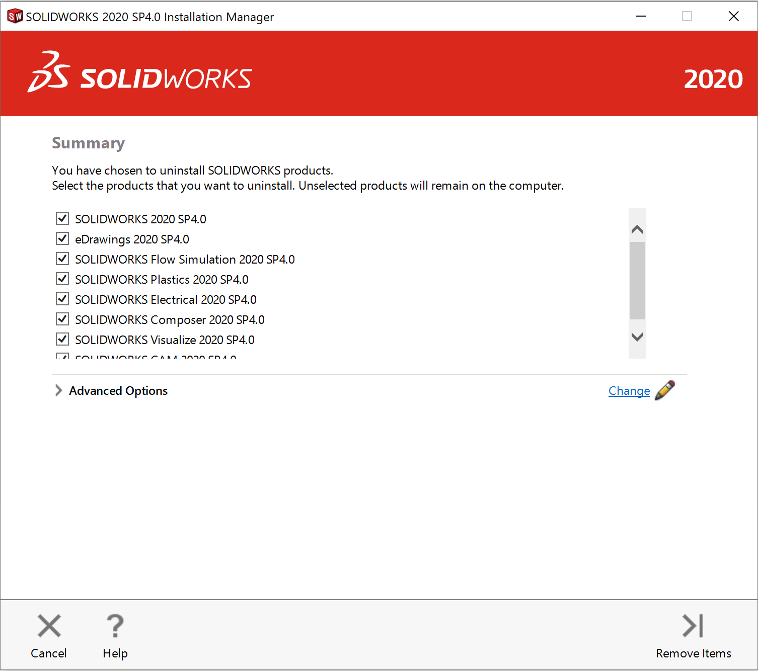 SOLIDWORKS Installation Manager will open and give several program options with check boxes next to them. All the checkboxes are checked off. On the bottom of this, there will be a cancel, help, and remove items buttons.