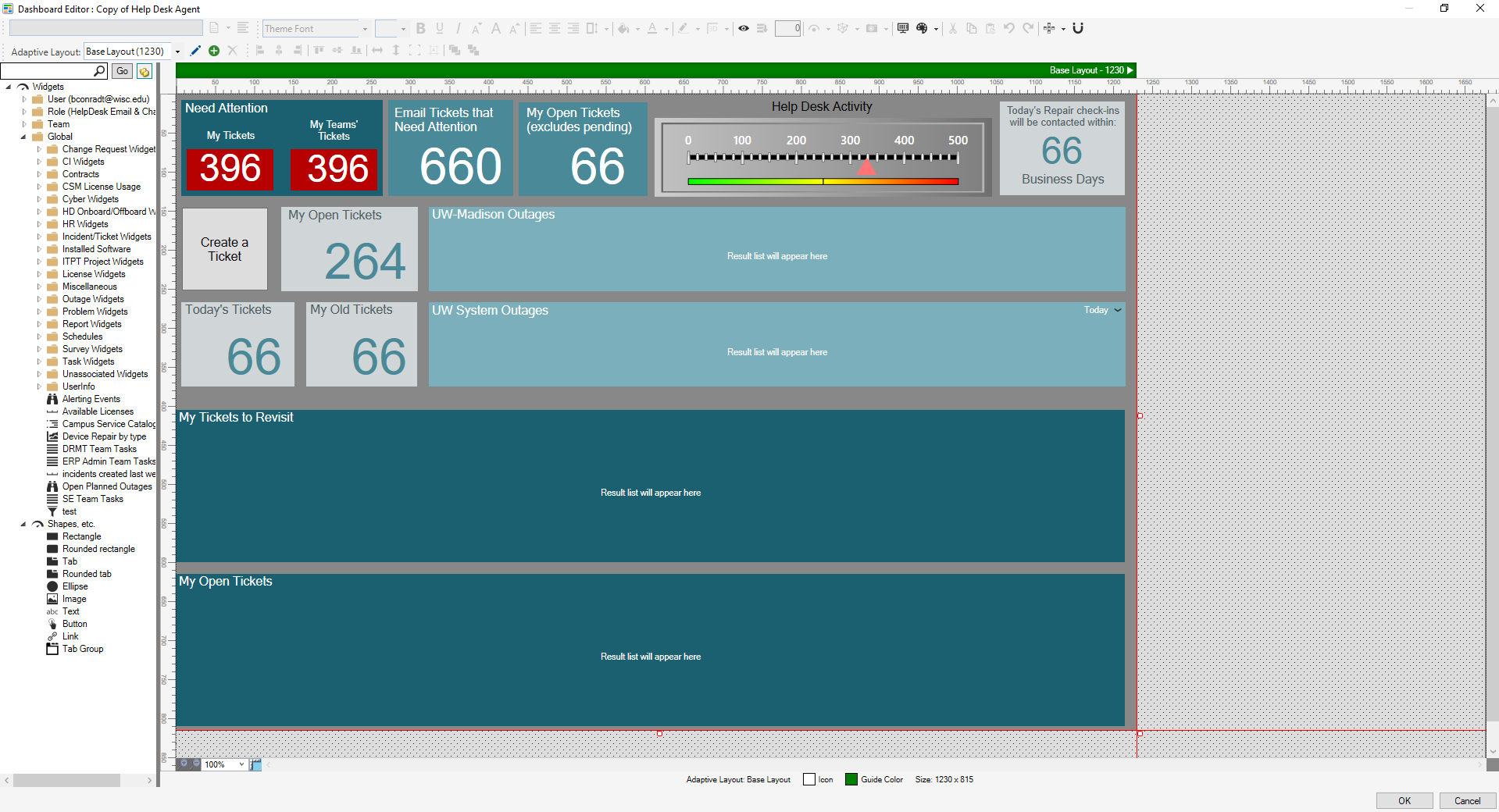 An example of the dashboard editor screen