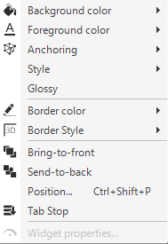 An example of a widget quick menu