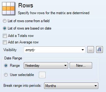 Rows option