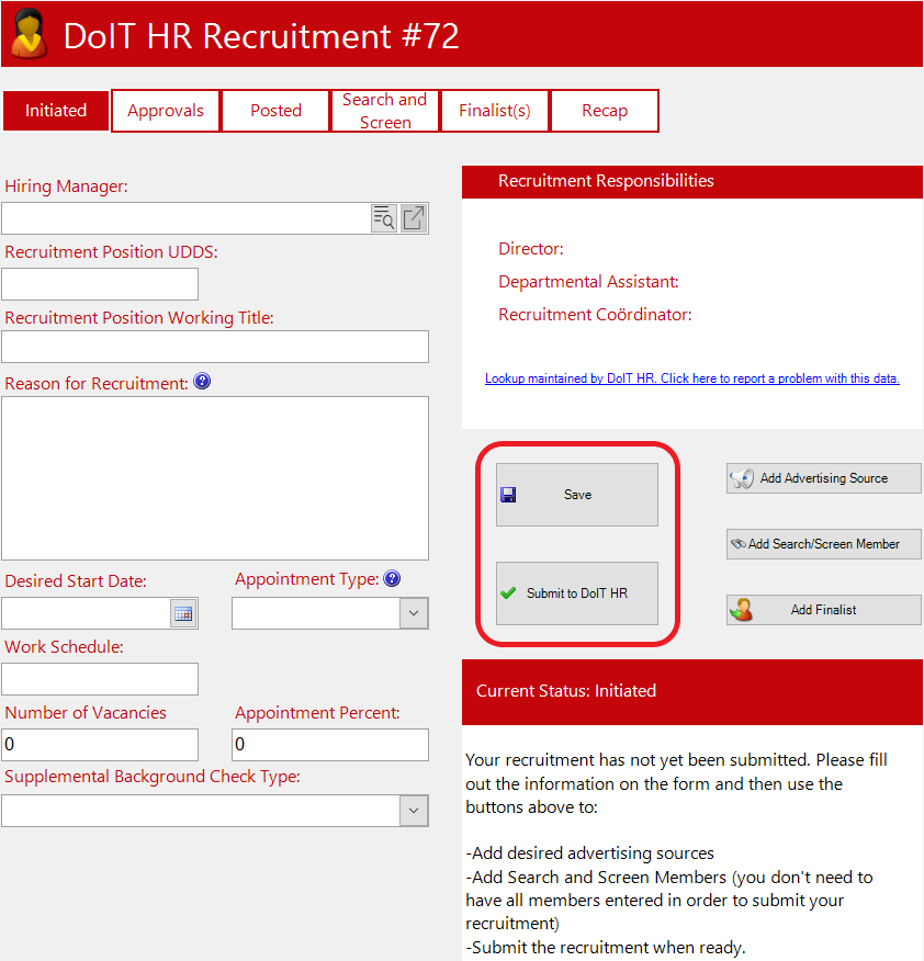 Example of the Recruitment form with the Save and Submit Highlighted