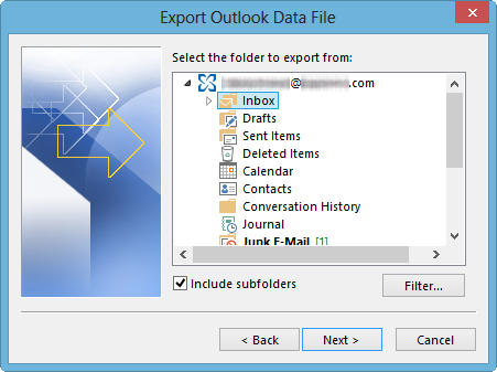 "This is a screenshot depicting the ""Export Outlook Data File"" screen, with ""Inbox"" selected and ""Include Subfolders"" checked."