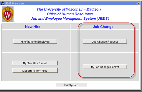 JEMS New Hire or Job Change page
