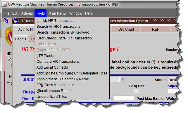 JEMS CHRIS HR Tools Errors