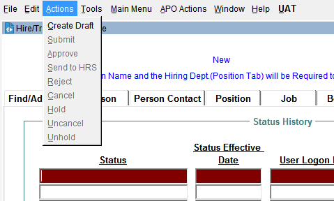 JEMS HIRE Actions drop down