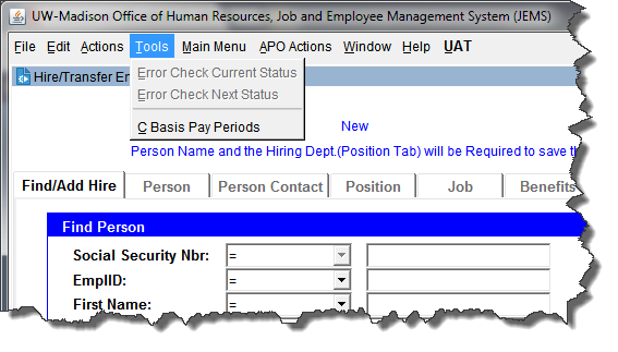 JEMS HIRE Error Checking