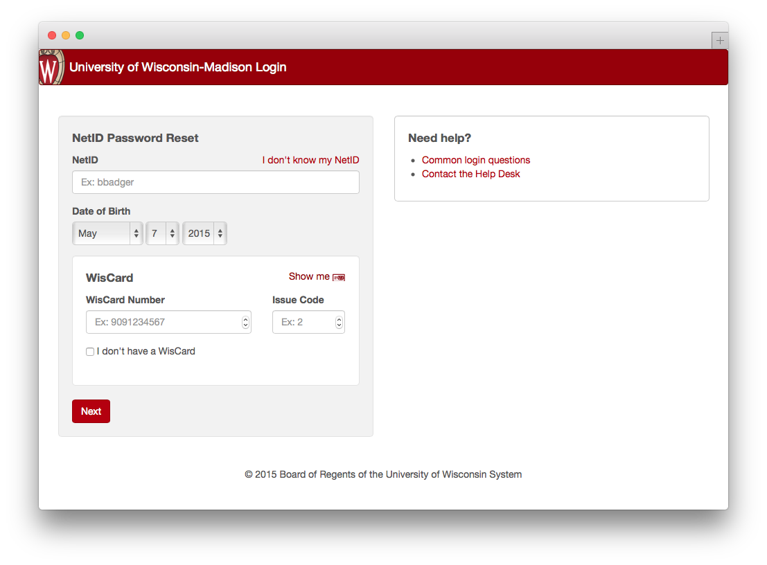 password reset home page