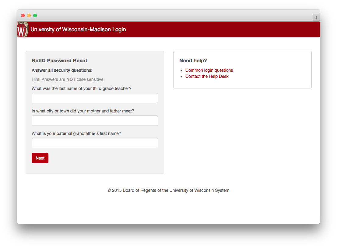 password reset security questions