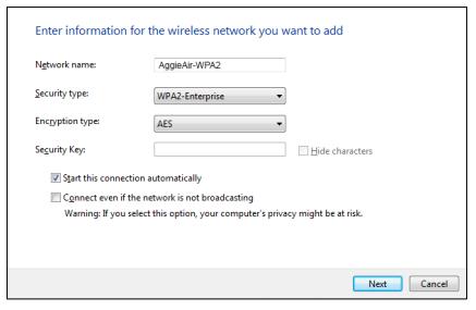 Windows 8 Aggie Air wpa2 settings imput image