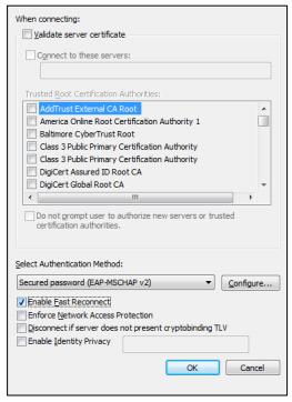 Protected EAP Properties window image