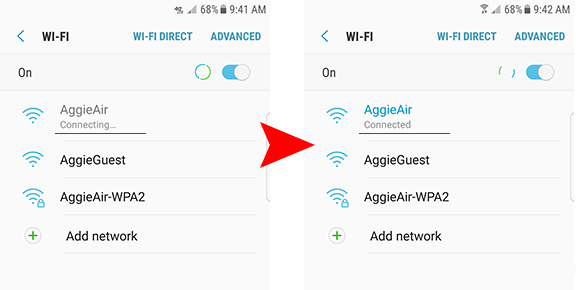 wifi connections list with connected network image