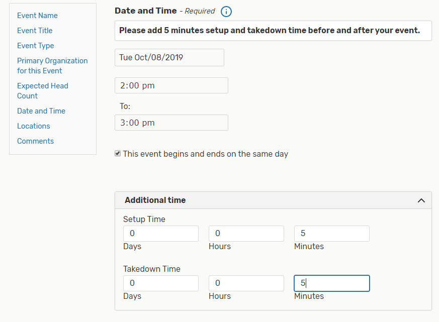 The Event Form requires you to first enter the start and end times of the first occurrence date of your event.
