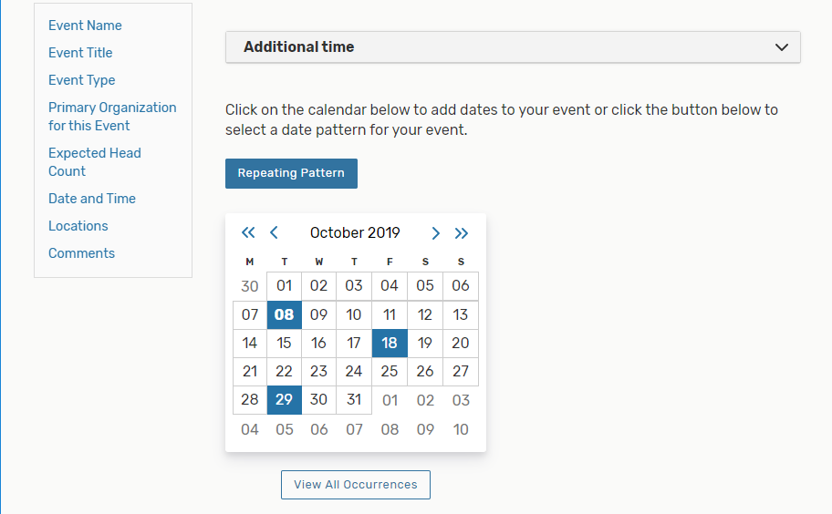 Select multiple dates on the calendar for events utilizing the Ad Hoc Repeating Pattern