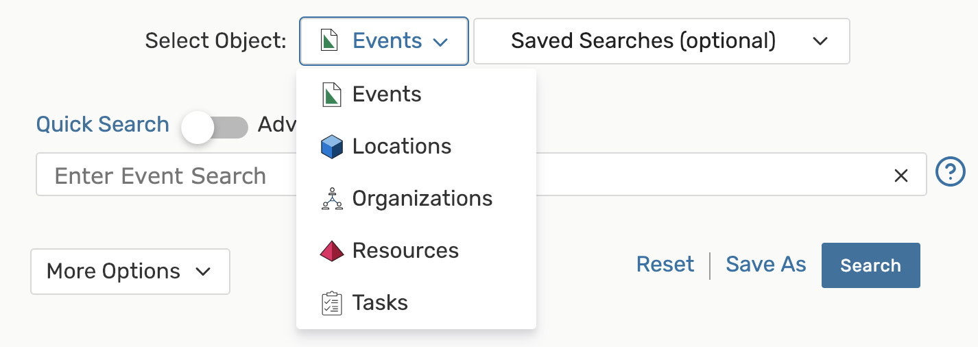 Image: Use the drop-down menu to choose a search area.
