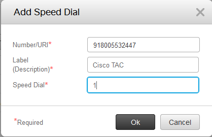 Add speed dial dialog box