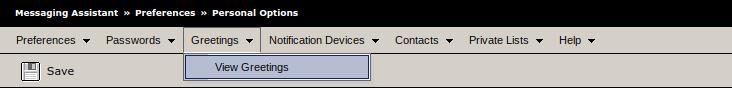 Screenshot of greetings tab