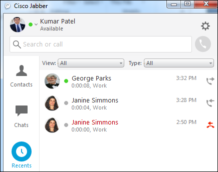 Jabber call history window