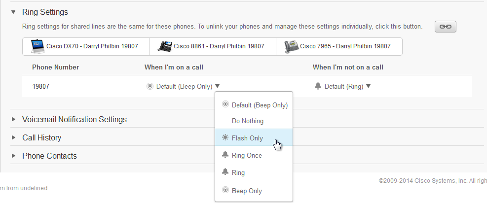 Ring settings screen