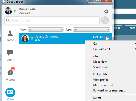 Windows voicemail options