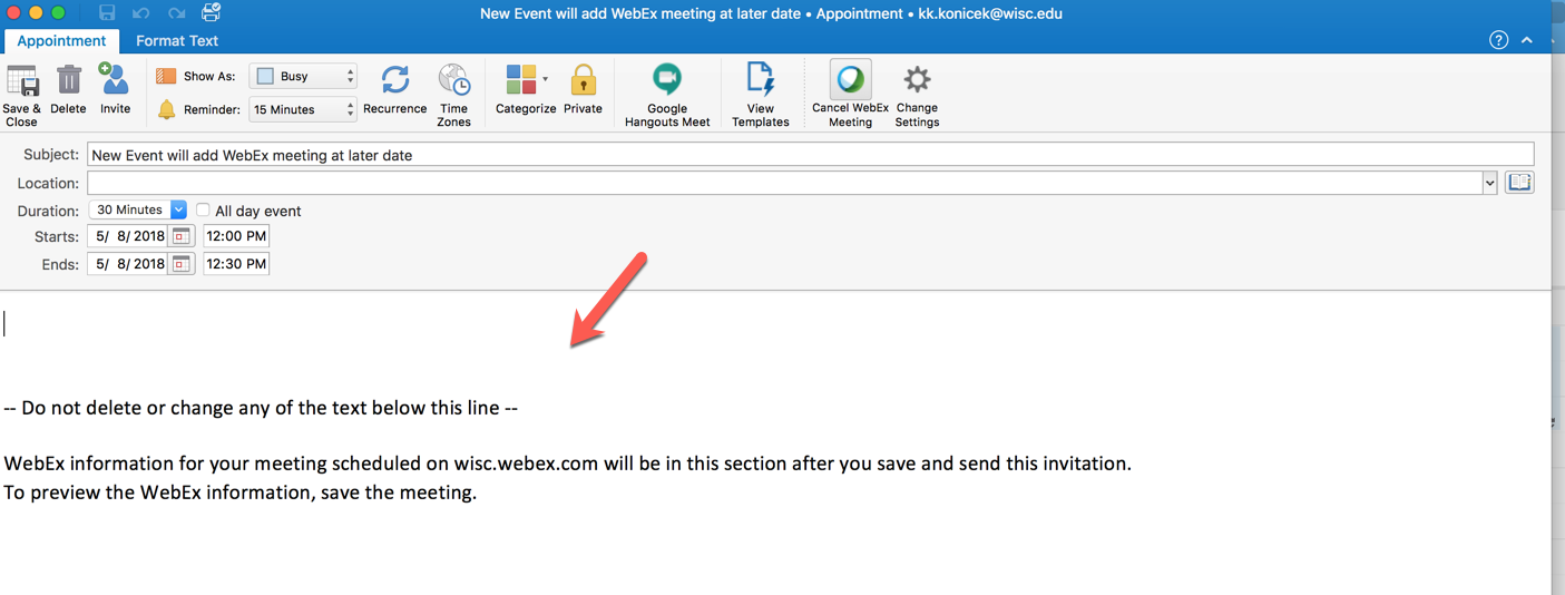 WebEx meeting information that states don't edit below this line.