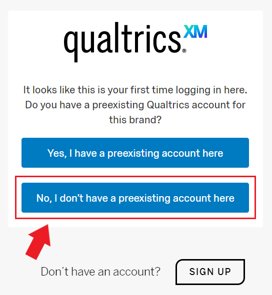 "Page asking if user to select ""Yes, I have a preexisting account here"" or ""No, I don't have a preexisting account here"""