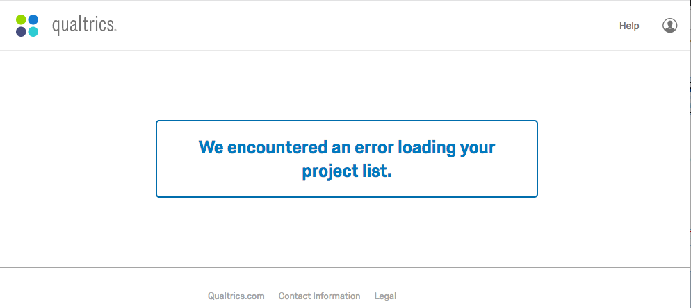 We encountered an error loading your project list