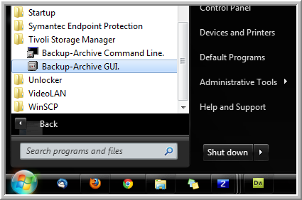 start menu backup archive gui