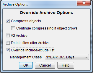 Archive options