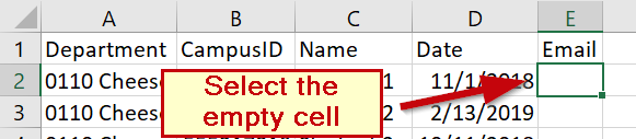 Select the Cell