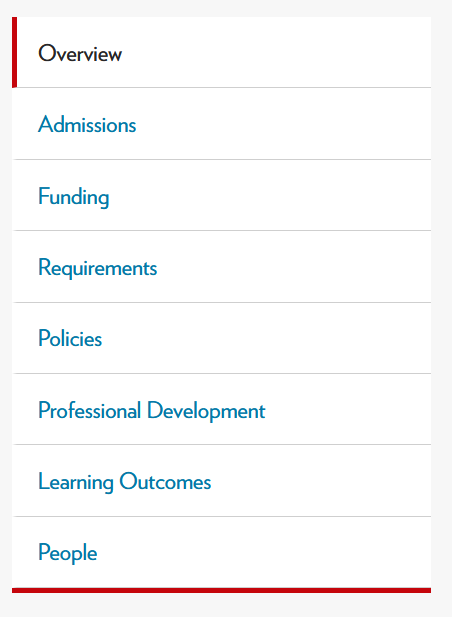 A screenshot of a navigational menu with the following tabs: Overview, Admissions, Funding, Requirements, Policies, Professional Development, Learning Outcomes, and People.