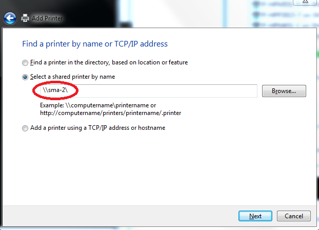 Find printers by name