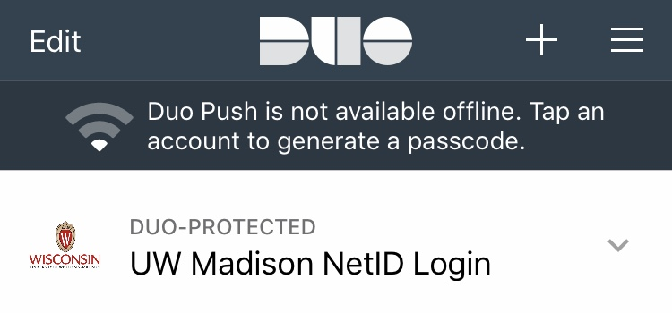 Duo Mobile app with entry for UW Madison NetID Login