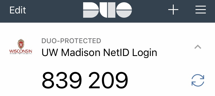 Expanded profile for the UW Madison NetID login entry with a six-digit passcode