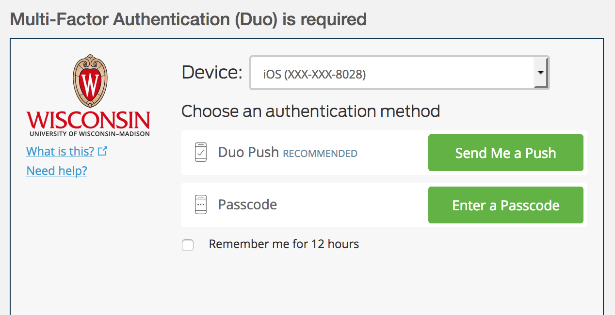 Duo authentication page with options to send push or enter passcode