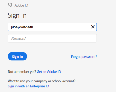 Adobe Sign-In dialog box